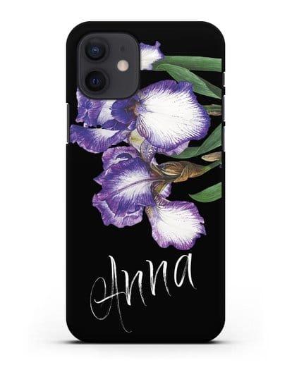Именной чехол Ирисы силикон черный для iPhone 12