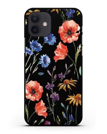 Чехол Полевые цветы силикон черный для iPhone 12