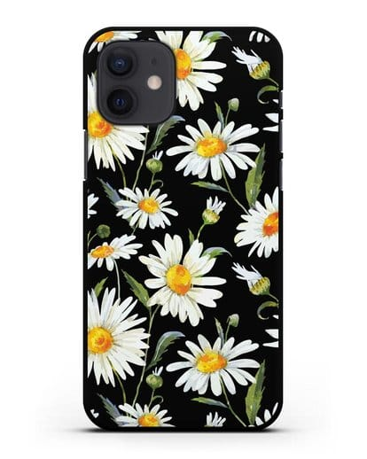 Чехол Ромашки силикон черный для iPhone 12