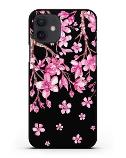 Чехол Цветущая сакура силикон черный для iPhone 12