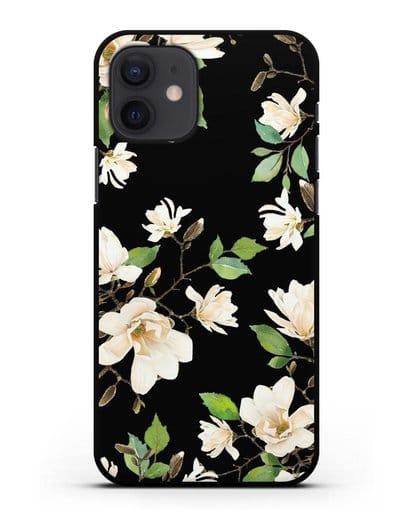 Чехол Магнолия белая силикон черный для iPhone 12