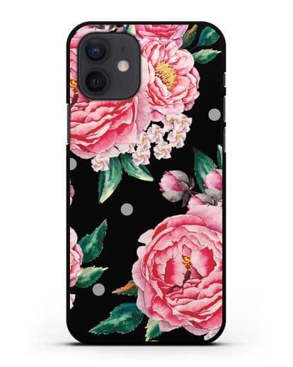 Чехол Пионы махровые силикон черный для iPhone 12
