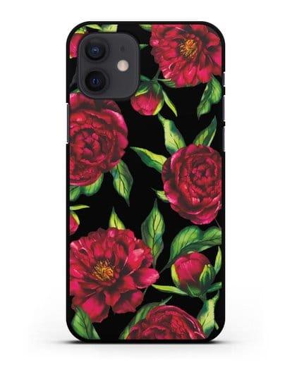 Чехол Пионы бордовые силикон черный для iPhone 12