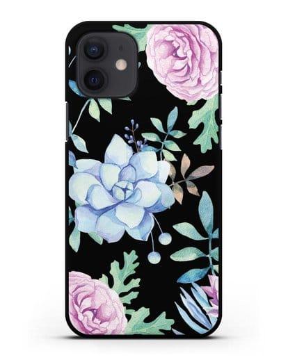 Чехол Суккуленты силикон черный для iPhone 12