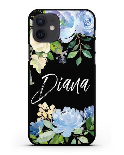 Именной чехол Роза голубая силикон черный для iPhone 12