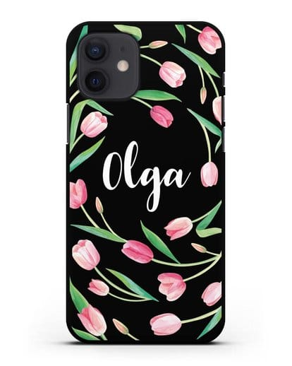 Именной чехол Тюльпаны розовые силикон черный для iPhone 12