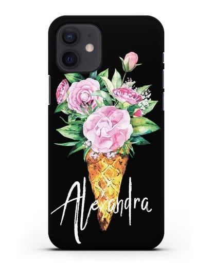 Чехол Букет роз силикон черный для iPhone 12