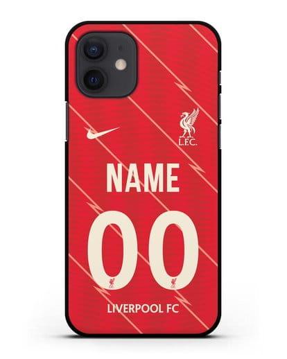 Именной чехол ФК Ливерпуль с фамилией и номером (сезон 2021-2022) домашняя форма силикон черный для iPhone 12