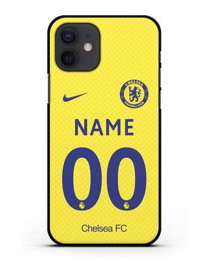 Именной чехол ФК Челси с фамилией и номером (сезон 2021-2022) домашняя форма силикон черный для iPhone 12