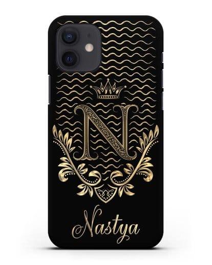 Чехол с короной, именем и фамилией с золотым рисунком силикон черный для iPhone 12