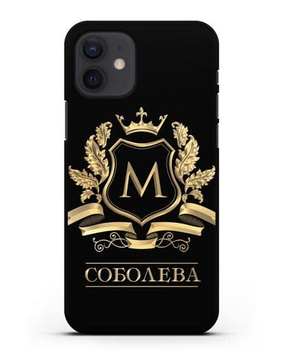 Чехол с геральдическим щитом, фамилией и короной с золотым рисунком силикон черный для iPhone 12