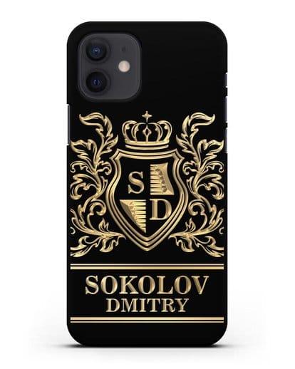 Именной чехол с гербом, инициалами и фамилией с золотым рисунком силикон черный для iPhone 12