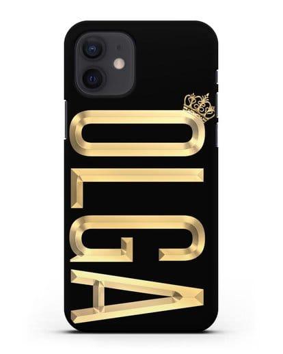 Чехол с именем, фамилией и короной с золотым рисунком силикон черный для iPhone 12