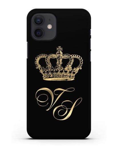 Именной чехол с короной и инициалами с золотым рисунком силикон черный для iPhone 12