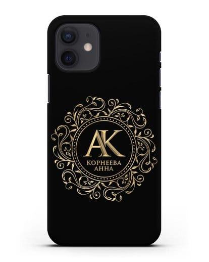 Чехол с монограммой, именем и фамилией с золотым рисунком силикон черный для iPhone 12