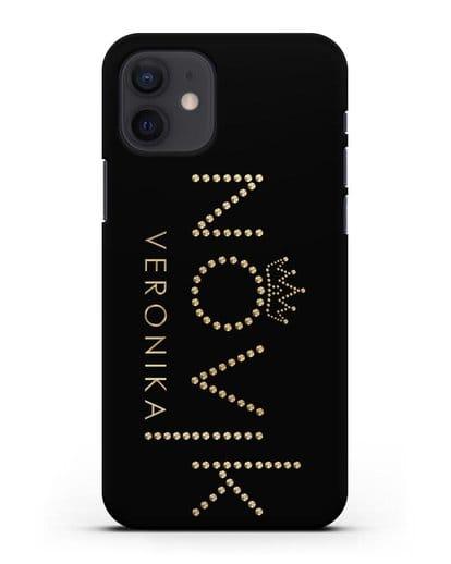 Именной чехол с именем, фамилией и короной с золотым рисунком силикон черный для iPhone 12
