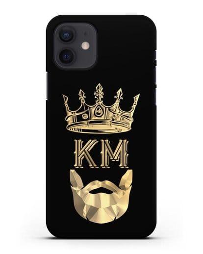 Чехол с короной и инициалами для мужчины с золотым рисунком силикон черный для iPhone 12
