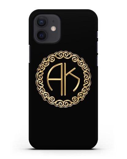 Именной чехол с монограммой с золотым рисунком силикон черный для iPhone 12