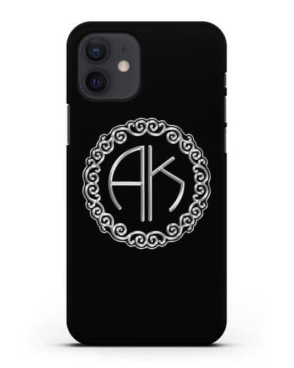 Именной чехол с монограммой с серебряным рисунком силикон черный для iPhone 12