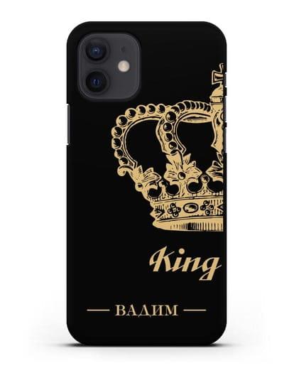Именной чехол с короной парный мужской с фамилией и надписью King силикон черный для iPhone 12