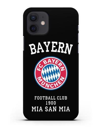 Чехол с надписью Bayern Mia San Mia силикон черный для iPhone 12