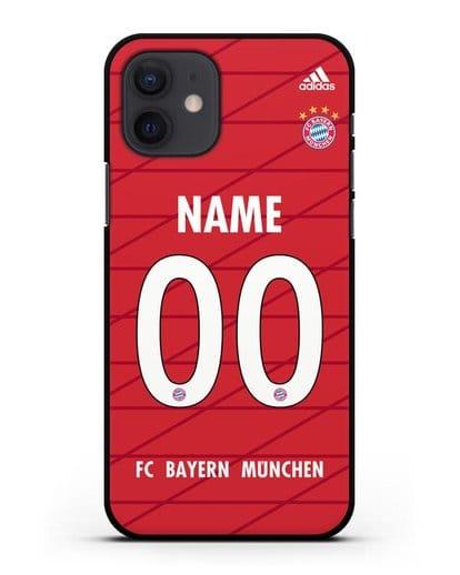 Именной чехол Бавария Мюнхен с фамилией и номером (сезон 2019-2020) красная форма силикон черный для iPhone 12
