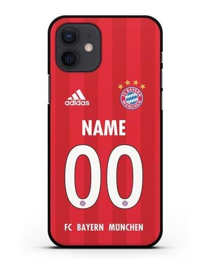Именной чехол ФК Бавария Мюнхен с фамилией и номером (сезон 2020-2021) домашняя форма силикон черный для iPhone 12