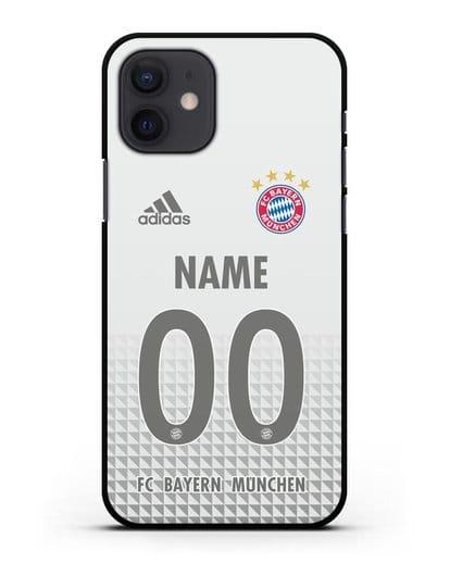 Именной чехол ФК Бавария Мюнхен с фамилией и номером (сезон 2020-2021) гостевая форма силикон черный для iPhone 12