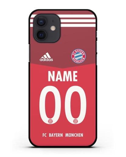 Именной чехол ФК Бавария Мюнхен с фамилией и номером (сезон 2021-2022) домашняя форма силикон черный для iPhone 12