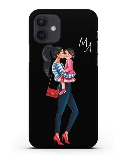 Чехол с иллюстрацией Мама брюнетка с дочкой и инициалами силикон черный для iPhone 12