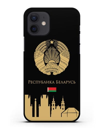 Чехол с гербом Беларуси и силуэтами Минска с надписью на русском языке силикон черный для iPhone 12