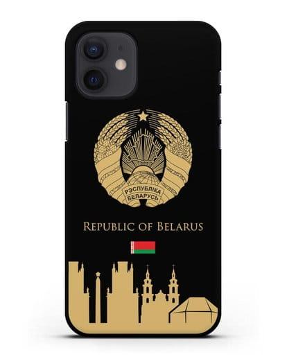 Чехол с гербом Беларуси и силуэтами Минска с надписью на английском языке силикон черный для iPhone 12