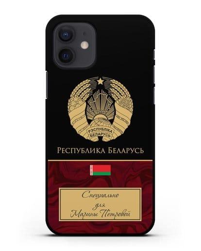 Чехол с гербом Беларуси с именем, фамилией на русском языке, красный мрамор силикон черный для iPhone 12