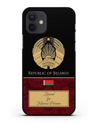 Чехол с гербом Беларуси с именем, фамилией на белорусском языке, красный мрамор силикон черный для iPhone 12