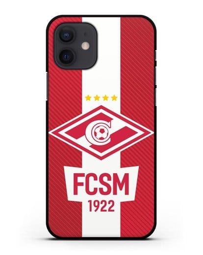 Чехол Спартак Москва с надписью FCSM 1922 силикон черный для iPhone 12