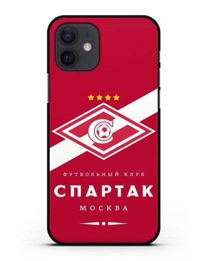 Чехол с логотипом ФК Спартак Москва с красным фоном силикон черный для iPhone 12