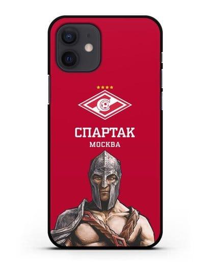 Чехол ФК Спартак Москва Гладиатор с красным фоном силикон черный для iPhone 12
