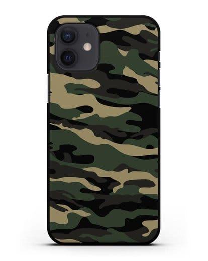 Чехол с армейским рисунком камуфляж вудланд силикон черный для iPhone 12