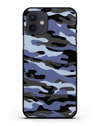 Чехол с рисунком камуфляж синий силикон черный для iPhone 12