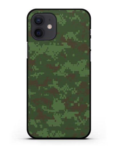 Чехол с армейским рисунком камуфляж зеленый пиксель силикон черный для iPhone 12