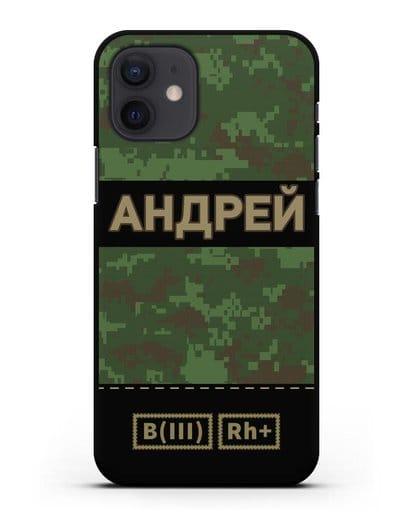 Именной чехол с группой крови и именем, камуфляж зеленый пиксель силикон черный для iPhone 12