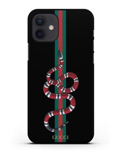 Чехол Гуччи со змеей силикон черный для iPhone 12
