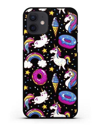 Чехол с дизайном Единороги, пончики, мороженое силикон черный для iPhone 12
