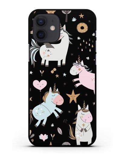 Чехол с дизайном Единороги из мира снов силикон черный для iPhone 12