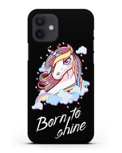 Чехол с рисунком единорога и надписью Born to shine силикон черный для iPhone 12
