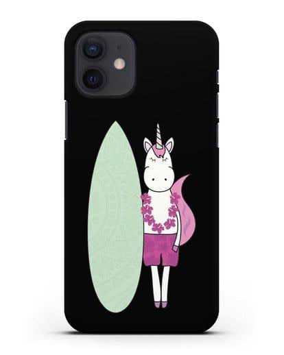 Чехол с рисунком Единорог и доска для виндсерфинга силикон черный для iPhone 12