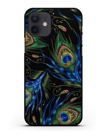 Чехол Перья павлина силикон черный для iPhone 12