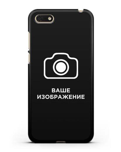 Чехол с фотографией, рисунком, логотипом на заказ силикон черный для Huawei Y5 Prime 2018