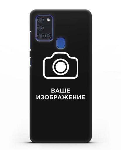 Чехол с фотографией, рисунком, логотипом на заказ силикон черный для Samsung Galaxy A21s [SM-A217F]