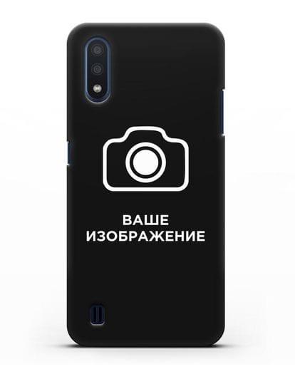 Чехол с фотографией, рисунком, логотипом на заказ силикон черный для Samsung Galaxy M01 [SM-M015F]